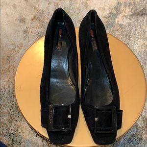 Prada black suede kitten heel